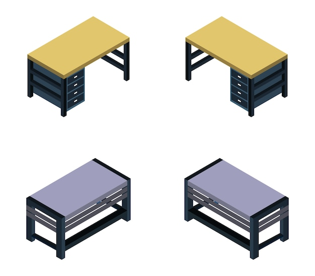 Set scrivania isometrica