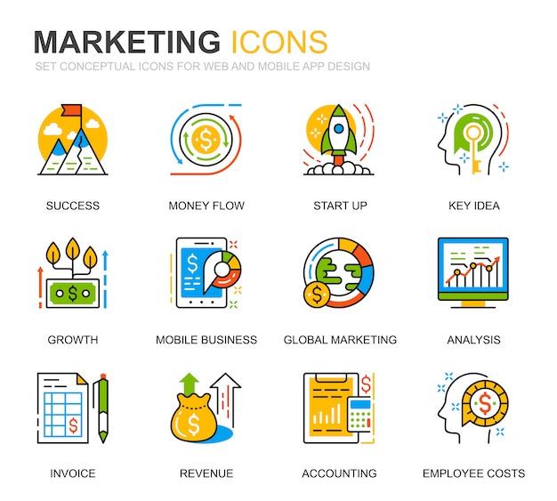 Set semplice di icone di linea di affari e marketing per sito web