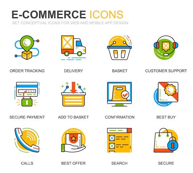 Set semplice e-commerce e shopping line icons per sito web