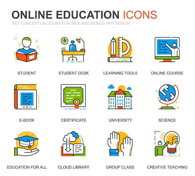 Set semplice istruzione e icone di linea di conoscenza per sito web