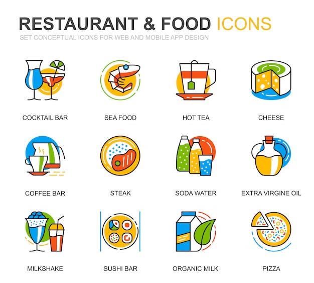 Set semplice ristorante e cibo linea icone per sito web
