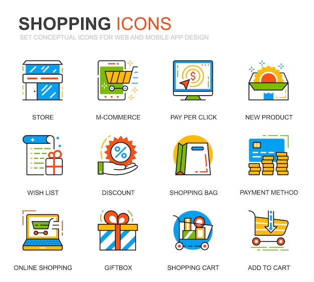 Set semplice shopping e icone di linea e-commerce per sito web