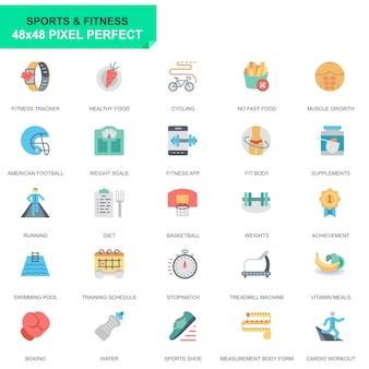 Set semplice sport e icone piane di fitness