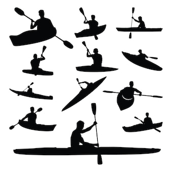 Set silhouette silhouette sport acquatici di kayak