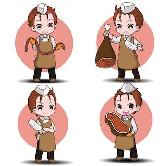 Set simpatico personaggio dei cartoni animati da macellaio., conten.