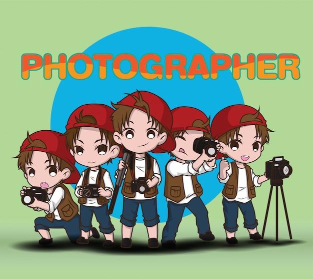 Set simpatico personaggio dei cartoni animati fotografo.