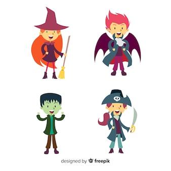 Set stile piatto di personaggi bambini halloween