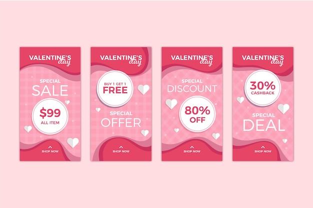 Set storia di vendita di san valentino
