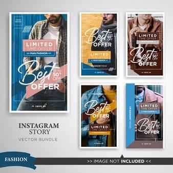 Set storie di instagram di vendita di moda uomo