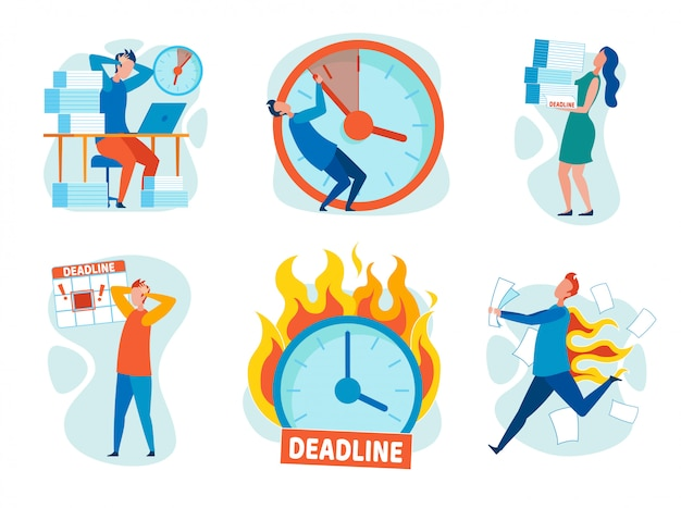 Set stress from breaking deadlines cartoon flat.