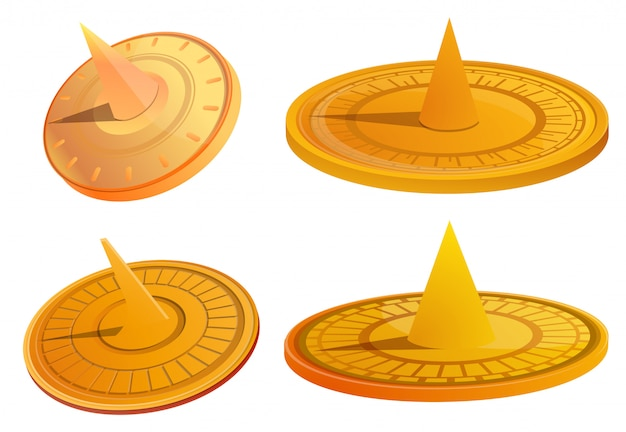 Set sundial cartoon set di meridiana