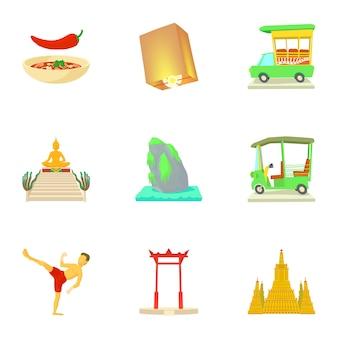 Set thailandia, stile cartoon