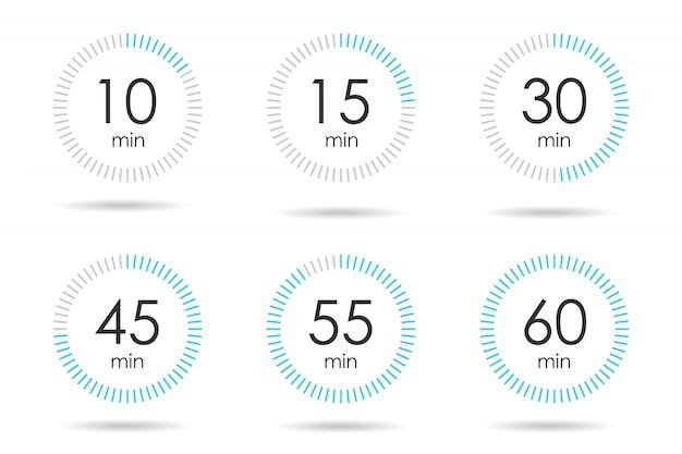 Set timer semplice. immagine realistica di un cronometro sportivo. concorrenza di simboli.