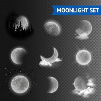 Set trasparente chiaro di luna
