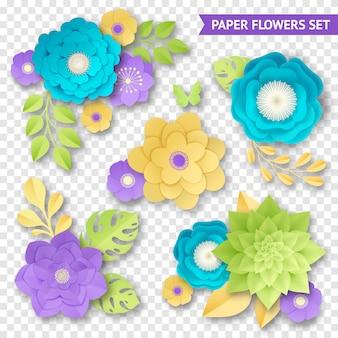 Set trasparente di composizioni di fiori di carta