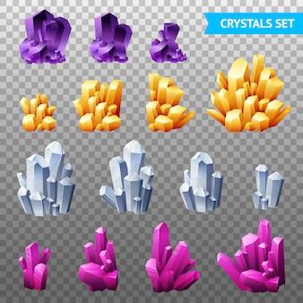 Set trasparente di cristalli realistici