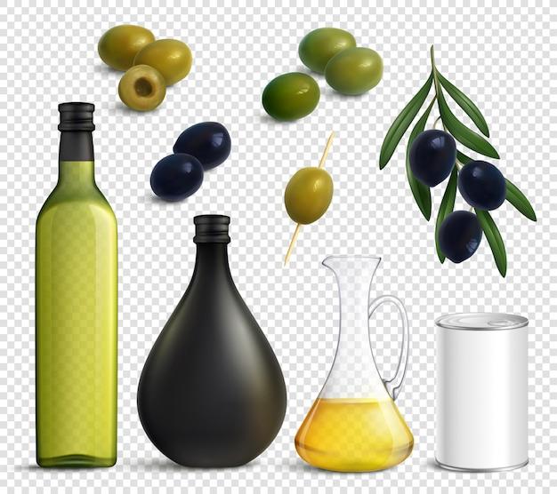 Set trasparente di olio di olive realistico