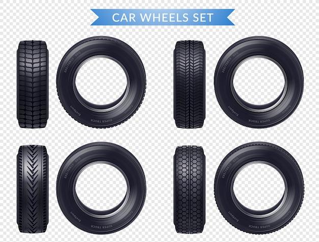 Set trasparente di pneumatici auto realistico
