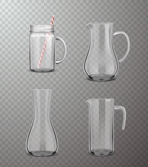 Set trasparente realistico di brocche di vetro
