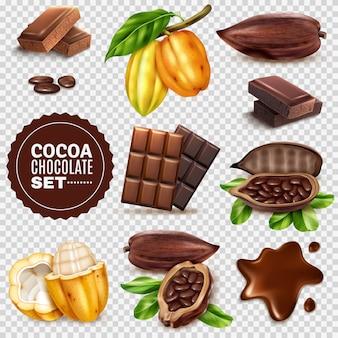 Set trasparente realistico di cacao