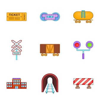 Set treno, stile cartoon