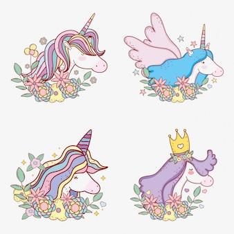 Set unicorno con corno di acconciatura e ali carine