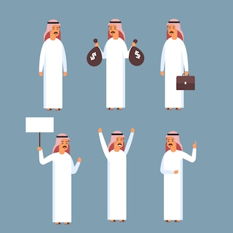 Set uomo arabo, islam uomo d'affari indossando abiti tradizionali collezione