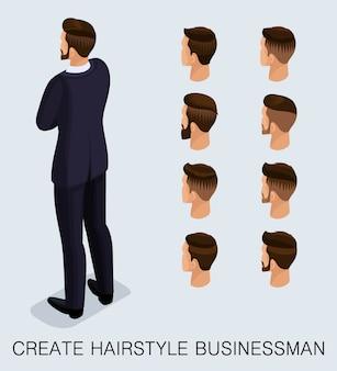 Set uomo d'affari isometrico
