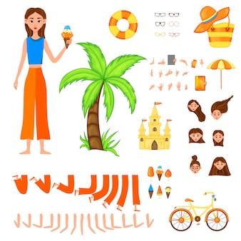 Set vacanza di personaggi femminili. ragazza con attributi di vacanza su uno sfondo bianco.