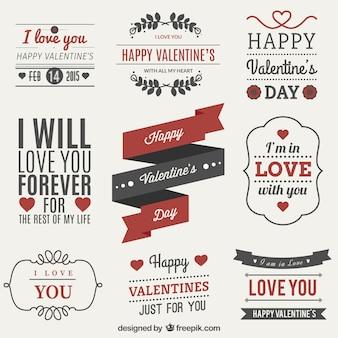 Set Valentines etichetta giorno