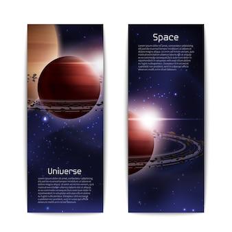 Set verticale di banner spazio e universo