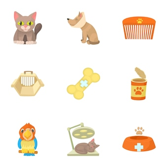Set veterinario, stile cartoon