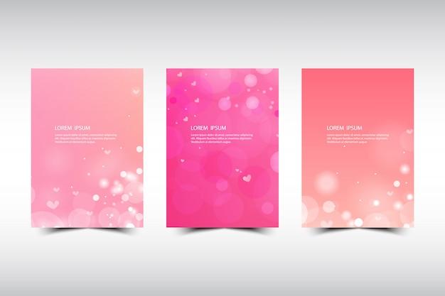 Set vettoriale astratto carta cerchio sfondo rosa