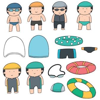 Set vettoriale di accessori nuotatore e nuoto