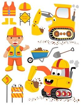 Set vettoriale di attrezzature da costruzione con lavoratore divertente