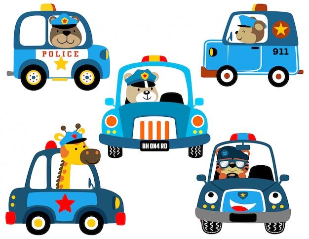 Set vettoriale di auto della polizia con poliziotti divertenti