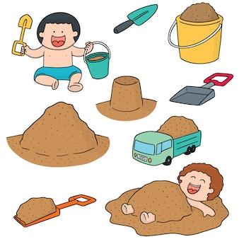 Set vettoriale di bambino che gioca sabbia