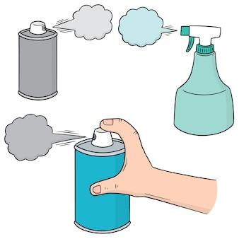 Set vettoriale di bomboletta spray e bottiglia