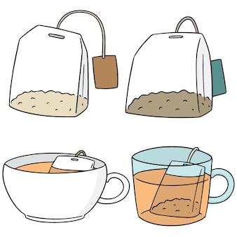 Set vettoriale di bustina di tè
