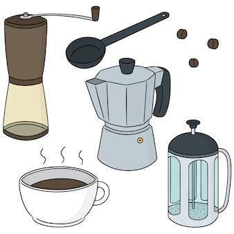 Set vettoriale di caffettiera