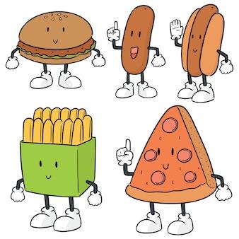 Set vettoriale di cartone animato di fast food