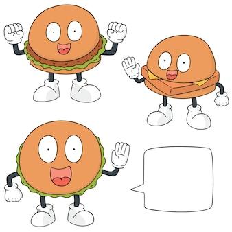 Set vettoriale di cartone animato hamburger