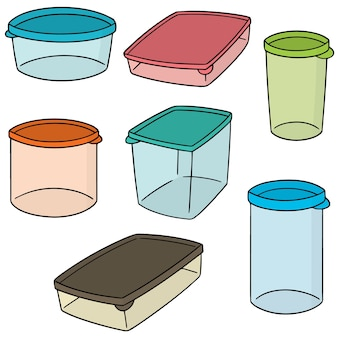 Set vettoriale di contenitore di plastica