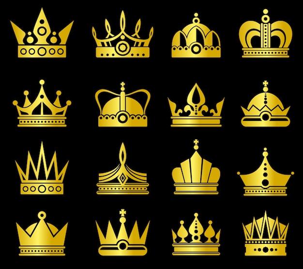 Set vettoriale di corone d'oro