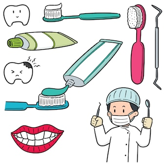 Set vettoriale di dentista e apparecchiature dentistiche