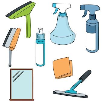 Set vettoriale di detergente per vetri e specchi