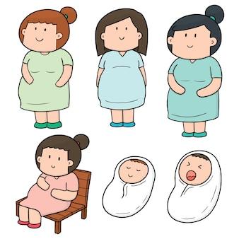 Set vettoriale di donna incinta e bambino