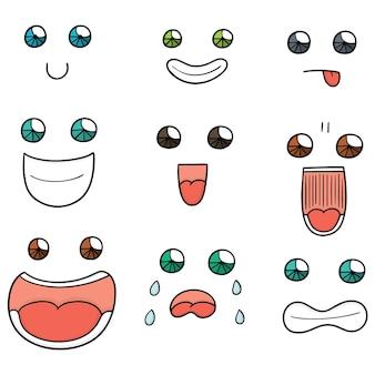 Set vettoriale di faccia da cartone animato