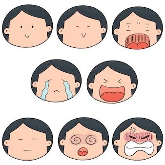 Set vettoriale di faccia da ragazzo