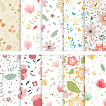 Set vettoriale di fiori seamless patterns.